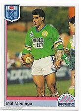 1992 NSW Rugby League REGINA Base Card (149) Mal MENINGA Canberra Raiders