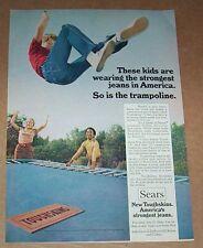 1971 ad page - Sears Toughskins jeans boys girl trampoline kids Vintage PRINT AD