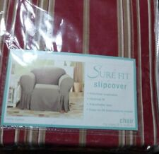 "Sure Fit  Twill Chair Slipcover | Relaxed Fit |Red/ Gold 32""-43"" polyester new"