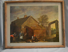 Vintage Medieval Country Life Oil on Paper Painting with Frame 18 by 14 inches