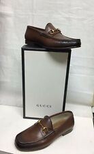 Gucci Classic Brown leather burnished toe loafers sz:EU7/US8