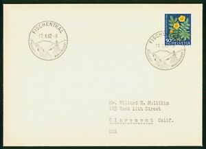 Mayfairstamps Switzerland 1962 Fischenthal to Claremont CA Yellow Flowers Cover