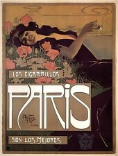 CIGARRILLOS PARIS Vintage French Tobacco Advertising Poster on CANVAS 24x30 in.