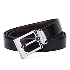 Tonly Monders Men's Reversible Leather Belt For Jeans Black