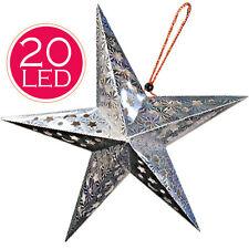Stella Decorazione Natale Luminosa Batterie 20 LED Superfice Olografica 55x55cm