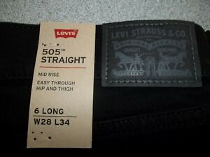 """NWT Womens Levi's 505 Straight Fit Jeans (155050120) Black size 6 Long 28"""" x 34"""""""