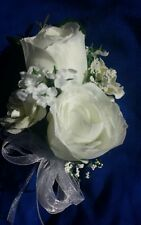 4 pc custom pin on Corsages White Roses  Customized Wedding Mother Bride