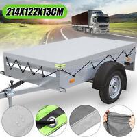 214x122cm Housse Bache Remorque Tracteur Transport Tissu Oxford Gris Étanche PVC