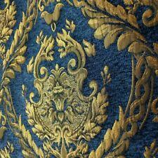 Golden Laurel Crest Upholstery Chenille Brocade Fabric Royal Blue Damask Regal