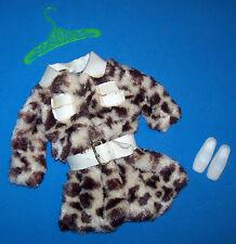 Vintage Francie Doll #1240 Vinyl & Faux Fur Pony Coat 1970's Mod Outfit