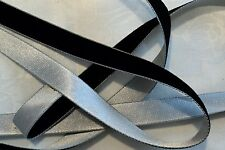 """1/2"""" DOUBLE COLOR VELVET/SATIN RIBBON- BLACK / SILVER - by the yard"""