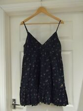 Jack Wills Tunic Top Navy Blue Ditsy Floral Print Long Length Strappy UK Size 14
