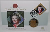 2012 | Diamond Jubilee St Helena FDC w/Jersey £5 Coin | Coins | KM Coins