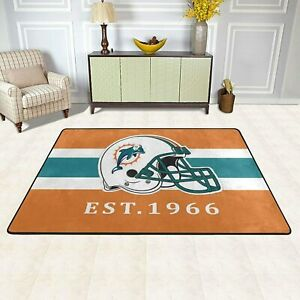 Miami Dolphins Rugs Area Rug Living Room Bedroom Soft Flannel Floor Mat Carpet