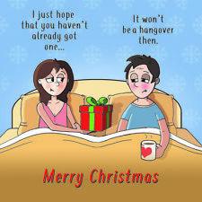Merry Christmas Card with Present & Hangover - Xmas Card -Funny Christmas Card