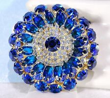 Vtg JULIANA Bermuda & Peacock BLUE w/ICE Rhinstone MASSIVE LAYERED Brooch PIN