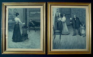 Dos Acuarela Aguada Cortina Escena Interior Firmado 1900 19th Impresionista