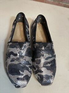 Toms Classic Sequin Black Diver Camp Casual Slip On Shoes Size 8.5 W