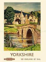 TRAVEL TOURISM KIRKHAM YORKSHIRE ENGLAND UK ABBEY BRIDGE RIVER RUIN LV4207