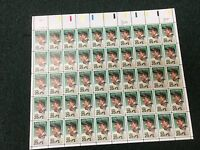 1989 LOU GEHRIG USPS SHEET OF 50 - 25 CENT POSTAGE STAMPS - UNUSED