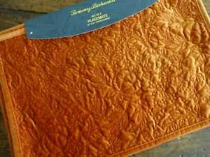 TOMMY BAHAMA VELVET ORANGE Fall PUMPKINS Quilted FARMHOUSE PLACEMATS 4PC