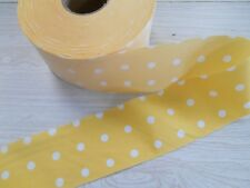"Yellow polka dot twill 35% cotton 65% poly BIAS STRIP 25 yds x 2-3/4"" wide"