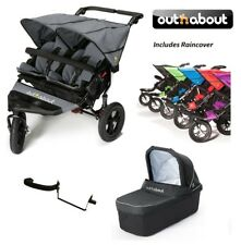Out n About Double Nipper 360 V4 Stroller Carycot/Adaptor/Raincover-Steel grey