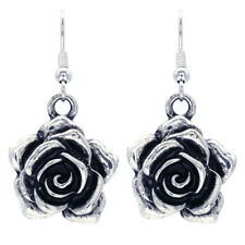 Vintage Antique Style Rose Flower Dangle Earrings Silver Tone Fashion Jewelry a1