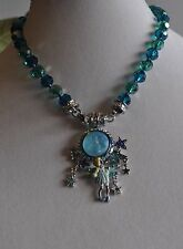 KIRKS FOLLY SEAVIEW MOON FAIRY ENHANCER TEAL MAGNETIC NECKLACE IN  SILVER TONE