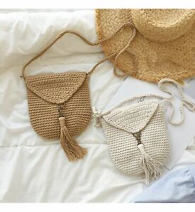 Handmade Crochet Mini Purse with Tassel, Hand Woven Crossbody Bag, Cotton Purse,