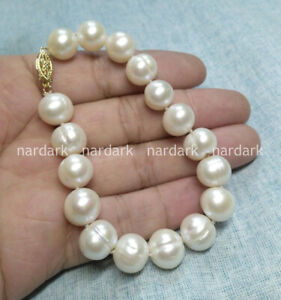 """HUGE AAA 12-13MM SOUTH SEA WHITE BAROQUE PEARL BRACELETS 7.5-8"""" 14K GOLD CLASP"""