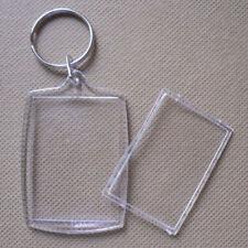 1x Clear Blank Keyrings Photo Insert Frame 38mm x 25mm Keyrings DIY Key Ring