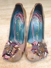 Irregular Choice High Heel Shoe Pink Suede Gold Cherub Ribbon Size 37 UK 4