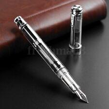 2017 Model Wing Sung 698 Piston Silver Clip Fountain Pens 0.5mm Soft Nib Pen