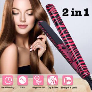 2 In1 Portable Ceramic Ionic Flat Iron Hair Straightener Curling Curler Too