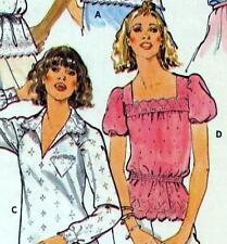 "Easy VINTAGE 80 S camicetta Sewing Pattern Busto 34"" Taglia 10 CONTADINA Retrò Top Shirt"