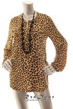 N/W- Defect JONES NEW YORK Women Split Neck Shirt Top Brown Black Beige L