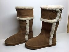 *2 WOMENS MICHAEL KORS WINTER SUEDE LIGHT BROWN BOOTS SIZE 8 M