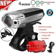 USB Rechargeable Mounting 1000 Lumen LED Bike Light Headlight Taillight Bracket