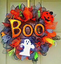 Halloween Deco Mesh BOO Wreath Ghost Spider & Jack-O-Lantern Pumpkin Door Decor
