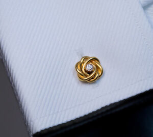 Antique Round Diamond 1.25 Ct 14k Yellow Gold Over Men's Shirt Knot Cufflinks
