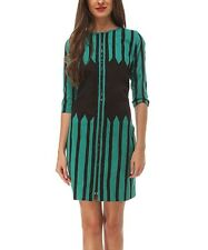 Almatrichi Teal & Black Stripe Branch cotton spandex 3/4 sleeve Dress, SZ 42 6-8