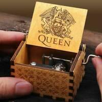 Hand Crank Wooden Engraved Queen Music Box Kids Christmas Gift 64*52mm