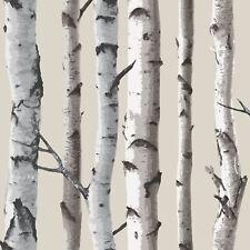 BIRCH TREES WALLPAPER CREAM AND SILVER FEATURE WALL DECOR NEW FINE DECOR FD31051