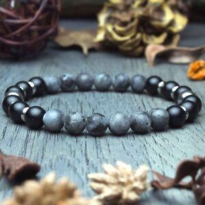 New Modèle Bracelet Homme perles pierre gemme Agate Larvikite Labradorite Inox