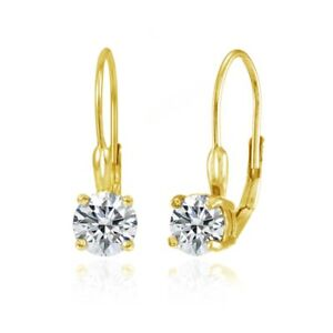 Round Leverback Earrings made with Swarovski Zironica in Gold Plated Silver