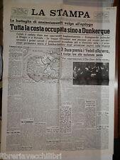 LA STAMPA 27 maggio 1940 Caduta della Francia Dunkerque Occupazione tedesca di e