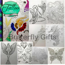 Adult Anti Stress Tattoo A4 Colouring Book 60 Pages Relax & Unwind New