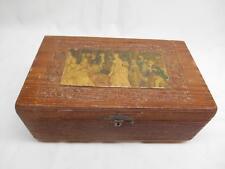 Antique Nussbaum Novelty Co. WOOD CARVED DRESSER BOX Litho Print Top Berne Ind.