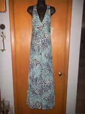 MADIGAN WIDE STRAP ANIMAL PRINT CROSSOVER BUST MAXI DRESS IN NAVY/BLUE/WHITE~LG